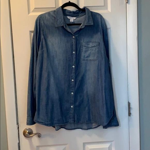 Old Navy Tops - Distressed denim shirt